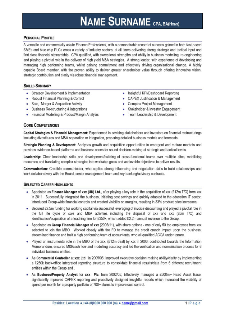 professional cv format free download for 2015